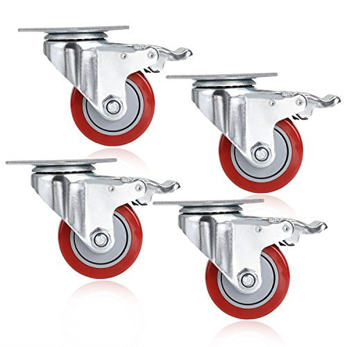 3'' Coocheer PVC Heavy Duty Swivel Caster Wheels 1000Lbs 360 Degree Top Plate with Brake Pack of 4 (red)