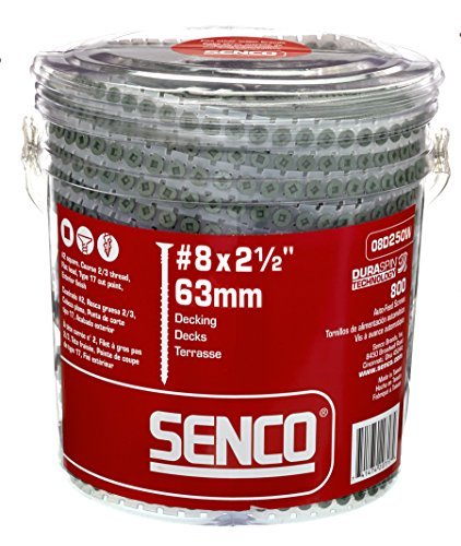 Senco Duraspin Screw Number 8 by 2-1/2-Inch All Purpose Exterior Wood Collated Screw (800 per Box) (08D250W)