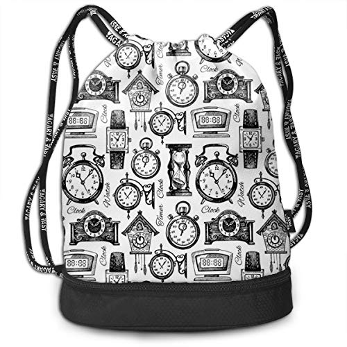 DDHHFJ Multifunctional Drawstring Backpack for Men & Women, Hand Drawn Clocks and...