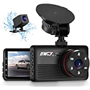 IIWEY 2K&1080P Dual Dash Camera for Cars with 6 IR Lights Night Vision 1440P Car Camera Dash Cam Front and Rear with 3.2' IPS Screen 170° Wide Angle Dashboard Security Camera Parking Mode