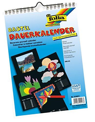 folia 23601 - Dauerkalender, Bastelkalender, mit Spiralbindung, DIN A4, schwarz, inklusive 3 Jahres-Vorschau