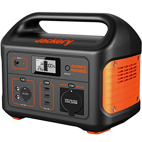 Jackery Tragbare Powerstation Explorer 500 - 518 Wh Batterie Mobiler Stromspeicher & Solar Generator mit 230V Steckdose + USB für Camping mit Wohnmobil, Garten, Heimwerken und als Notstromaggregat