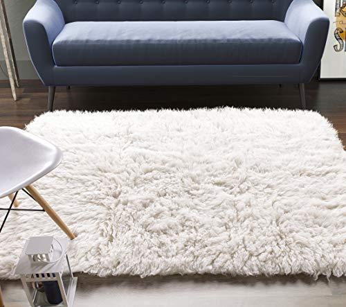 Super Area Rugs Wool Flokati Solid Shag Rug, 2' x 3', White