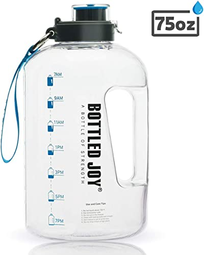 BOTTLED JOY Half Gallon Water Bottle with Straw Lid, BPA Free 75oz Large Water Bottle Hydration with Motivational Tim...