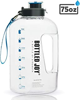 BOTTLED JOY 2.2L Water Bottle, BPA Free 85oz Large Water Bottle Hydration with Motivational Time Marker Reminder Leak-Proof Drinking Half Gallon Water Bottle for Camping Sports Workouts and Outdoor