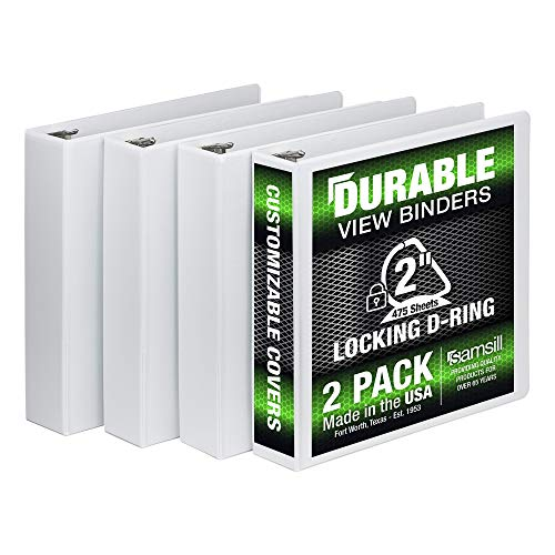 Samsill 3 Ring Durable View Binders - 4 Pack, 2 Inch Locking D-Ring, Non-Stick Customizable Clear View Cover, White (S66467)