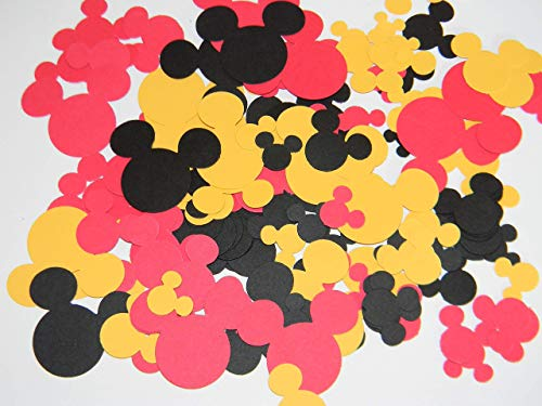 Mickey Mouse head inspired confetti - 200 pcs Mixed sizes - black, red and yellow - Birthday party Baby Shower Wedding confetti