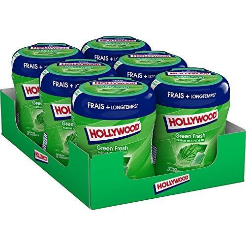 Hollywood Boîte GreenFresh-Chewing-gum sans sucres parfum Menthe Verte-Barquette de 6 boîtes de 60 dragées