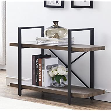 O&K Furniture 2-Shelf Vintage Industrial Bookcase, Display Rack Stand Storage Shelving Unit, Gray-Brown