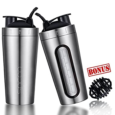 Shaker Bottle For Protein Mixes Stainless Steel Dishwasher Safe SOCOO Large Portable Loop top BPA Free Leak Proof Shaker Cup For Gym Workout Fitness Smoothie Protein Shake Mixing Bottle 28oz Gunmetal