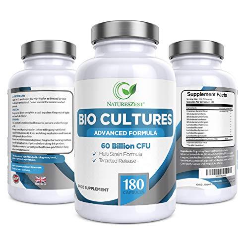 Natures Zest 60 Billion CFU Bio Cultures Probiotics with Prebiotics 180 Capsules Highest Strength 9 Strain Ultra Formula for Adults (Men/Women) Food Supplement – 6 Months' Supply