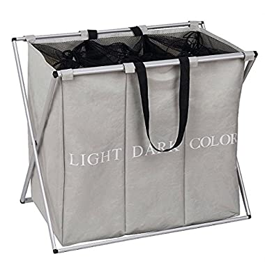 ESHOW L24.8 x W14.96  x H22.44  130L Foldable Laundry Hamper 3 section with Alloy Frame, 600D polyester (oxford) Large Laundry Hamper (light grey-3)