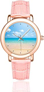 InterestPrint Palm Tree over Tropical Beach Women's Rose Gold-plated Watch Pink Leather Strap Wrist Watches