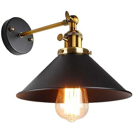 Applique Murale Vintage Industrielle Réglable Lampe Murale Industriel Noir en Métal Plafonnier Luminaire Rétro Applique Interieur pour Chambre, Cuisine, Restaurant, Couloir, Café, Bar