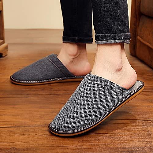 ZapatillascasaZapatillas De Invierno para Hombre, Zapatillas De Piel Cálidas para El Hogar, Zapatillas De Algodón Y Lino para Parejas Masculinas, Zapatos De Interior Pa