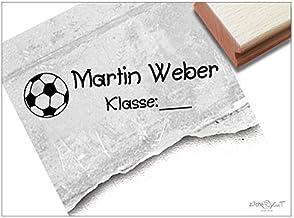 Stempel - Schulstempel FUßBALL mit Namen und Klasse Ihres Kindes - Klassenstempel/Namensstempel zur Kennzeichnung von Heften und Büchern - Individueller Kinderstempel von zAcheR-fineT