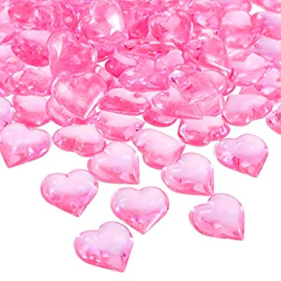 Tatuo 160 Pieces Acrylic Heart Decoration Valentine's Day Heart Ornaments for Vase Fillers and Table Scatter, 0.9 Inch