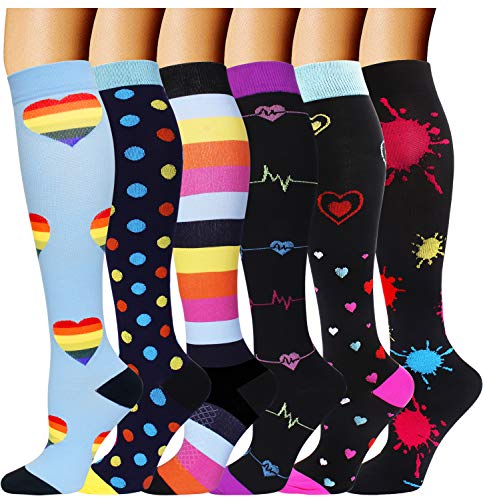 6 Pairs Graduated Compression Socks for Women Men 20-30mmhg Knee High Stockings