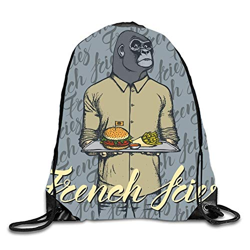 Lawenp Burger Monkey Sackpack Mochila con cordón Mochila Impermeable Gymsack para Hombres y Mujeres