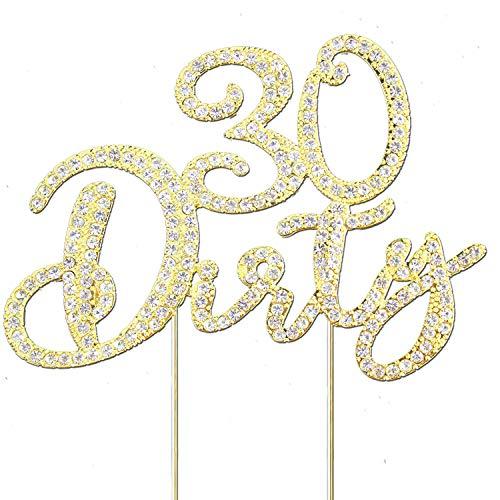 Glitter Crystal Gold Dirty 30 Cake Topper | Happy 30th Birthday Rhinestone Diamond Bling Sparkle Gem Monogram Number Party Favor Decoration Idea Perfect Keepsake. (Dirty 30 Gold)