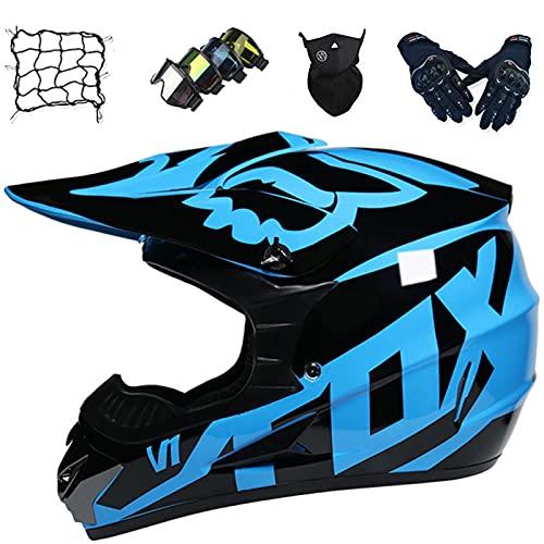 Aidasone Casco Motocross Niños Set con Gafas/Guantes/Máscaras/Red Bungy, Casco de Protección Moto Integral, Casco Unisex para Descenso MTB MX Quad, con Diseño Fox, Azul,XL