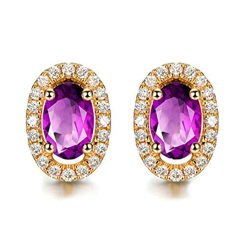 Bishilin Pendientes Mujer Plata de Ley S925 Anillos de Mujer Ajuste Cómodo Forma Oval Púrpura Oval Cristal Piedra Natal de Febrero Bandas de Aretes de Compromiso Oro Rosa