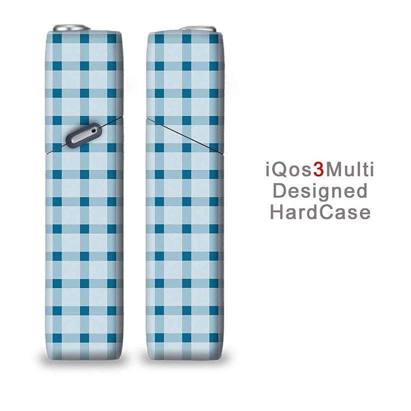 はがき保持繁栄完全国内受注生産 iQOS3マルチ用 アイコス3マルチ用 熱転写全面印刷 チェック柄 青 加熱式タバコ 電子タバコ 禁煙サポート アクセサリー プラスティックケース ハードケース 日本製