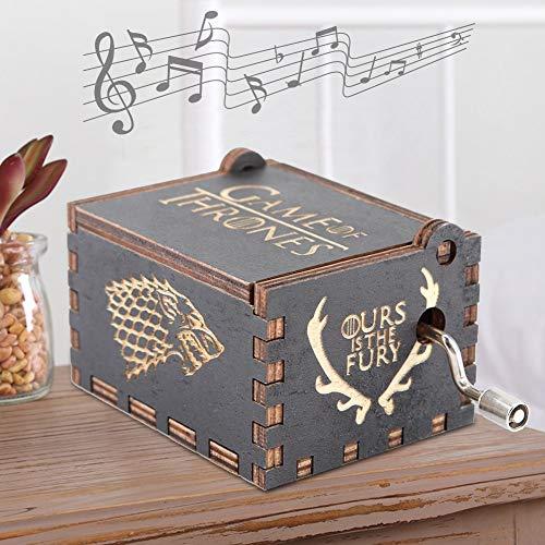 Caja de música de manivela Vintage Caja Musical Antigua Caja de música de Madera Tallada de Navidad Regalo Personalizable para niños como Regalo de cumpleaños(Black Game of Rights)