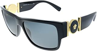 Versace VE 4369 GB1/87 Black Plastic Rectangle Sunglasses Grey Lens