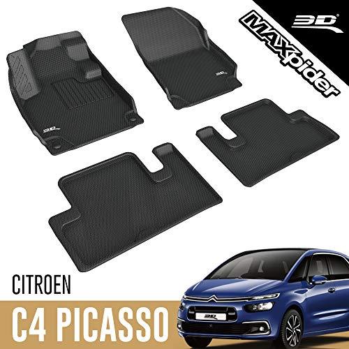 3D MAXpider Citroën C4 Picasso / C4 SpaceTourer 5-Places 2013-2020 Tapis de Sol Voiture en Caoutchouc pour Tous Temps Antidérapant Recouvrement Total