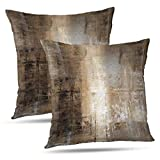 ONELZ Brown Throw Pillows and Grey Throw Pillows Decorative Pillow Covers for Couch Two Sides Printed, Fashion Style Zippered Cushion 18 X 18 Pillow Cover Set of 2,Brown and Grey