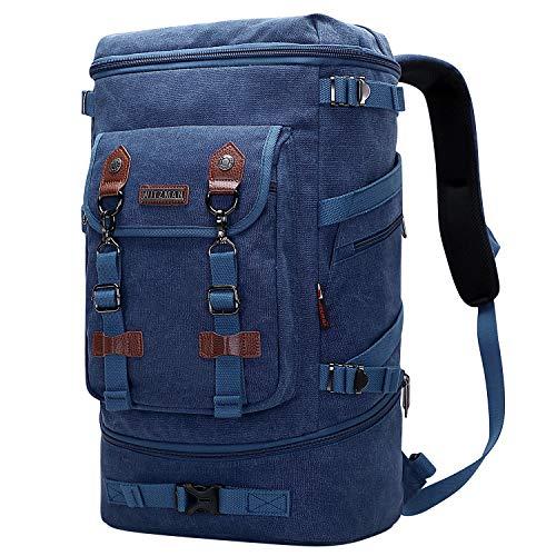 WITZMAN Mochila de lona de estilo vintage para hombre, mochila de viaje convertible, bolsa de viaje para portátil, mochila de senderismo, azul oscuro (Azul) - A568 Dark Blue EU