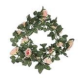 ZXBF 2.3M Flor Artificial Rayon Flowers Rose Hoja Guirnalda Vid Ivy For Wall Decoration Rattan Boda Flower Jardín Decoración de Navidad (Color : Gold)