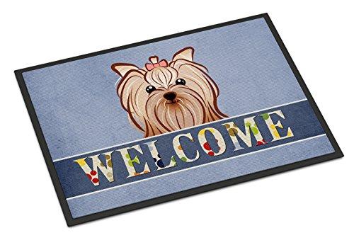 """Caroline Tesoros del bb1390mat Yorkie Yorkshire Terrier Welcome Alfombrilla para Uso en Exterior e, 18x 27"""", Multicolor"""