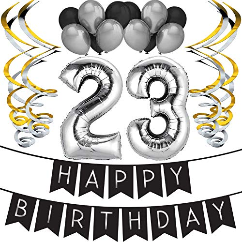 Sterling James Co. 23. Geburtstag Party Set – Schwarz & Silber Happy Birthday Girlande, Poms und Spiralgirlanden – Lustiges Geschenk Deko
