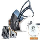 GOMOOY Máscaras de Gases Anticontaminacion Doble Filtro De Carbón Activo Ffp3 | NUEVO DISEÑO 8 FILTROS RECAMBIO INCLUIDAS | Mascarilla Pintura Antipolvo Respirador Mascara Protección Respiratoria