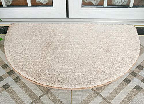 Gkmezmke waschbar Badezimmerteppich Halbrunder Rutschfester Teppich für zu Hause,superweiche saugfähige Türmatte,beige,40×60 cm