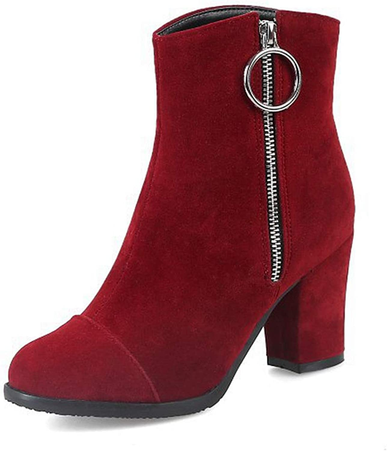 GIY Women's Closed Toe Dressy Ankle Boots Side Zipper Retro Chunky Block Heel Booties Short Boots