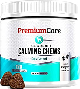 PREMIUM CARE Calming Treats for Dogs - Made in USA - Helps with Dog Anxiety, Separation, Barking, Stress Relief, Thunderstorms and More - Natural Calming Relaxer for Aggressive Behavior - 120 Chews