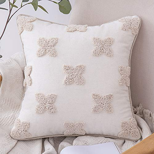 MIULEE Decorative Throw Pillow Cover Tribal Boho Woven Tufted Lumbar Pillowcase with Tassels Soft Cushion Case for Sofa Couch Bedroom 18x18 Inch, Beige