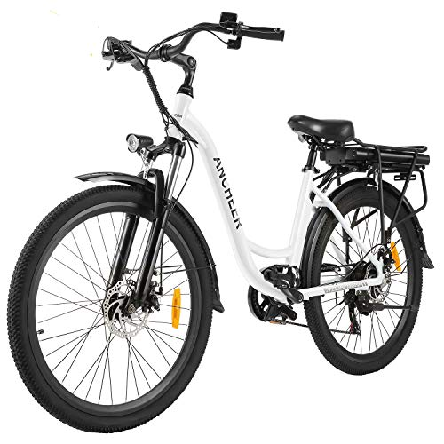 """ANCHEER 26"""" Aluminum Electric Bike, Adults Electric Commuting Bicycle with Removable 12.5Ah Battery, Professional Derailleur with 6 Speed City Ebike"""