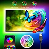 TV LED Backlight, Romwish 9.8ft RGB LED Strip Lights with Bluetooth APP Control for 40-60 inch TV, 16 Million Colors, 20 Scenes Mode, Music Sync Color Changing + Mic + Timing Function, USB Powered