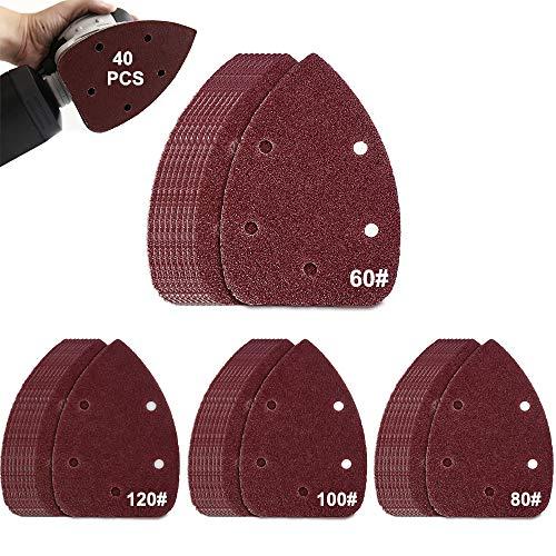 AOBETAK Schleifpapier für Deltaschleifer, 40 Stück Klett-Schleifdreiecke Maus Detail Schleifblätter Hook and Loop, Grob bis Fein Schleifpads für Multischleifer, 60 80 100 120 Körnungen, 5 Loch