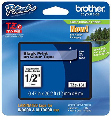 "Genuine Brother 1/2"" (12mm) Black on Clear TZe P-Touch Tape for Brother PT-1700, PT1700 Label Maker with Free TZe Tape Guide Included"