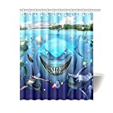 ZHANGSHUQI Erscheinungsbild for Nemo Badezimmer-Duschvorhang, langlebiger Stoff, Schimmeleffekt, mit 12 Haken, 180 x 180 cm