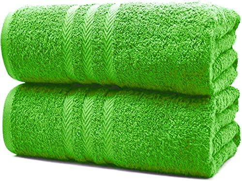 NAUSHA Super große Badetücher, 80 x 140 cm, 100 % ägyptische Baumwolle, 600 g/m², Grün, 2 Stück