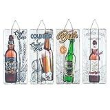 CAPRILO. Set de 4 Adornos Placa Pared Decorativas de Madera Botellas Cervezas. Cuadros y Apliques. Regalos Originales. Decoración Hogar. Muebles Auxiliares. 34.5 x 15 x 0.9 cm.