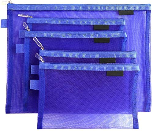 Sgualie Cosmetic Bags Zip Makeup Mesh Bags Pencil Case Pouch Travel Toiletry Kit Set Storage Case (Black), Dark Blue