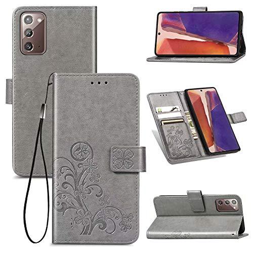 TOPOFU Handyhülle für Samsung Galaxy Note 20 Hülle, Superdünne Premium Leder Tasche Hülle Flip Wallet Schutzhülle mit Ständer & Kartenfach für Samsung Galaxy Note 20 (Grau)