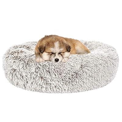 SHU UFANRO Dog Beds for Large Medium Small Dogs Round, Cat Cushion Bed, Pet Beds Cozy Fur Donut Cuddler Improved Sleep, Orthopedic Relief, Washable(Multiple Sizes)